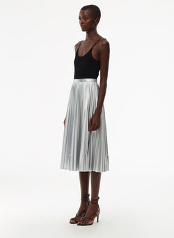 Metallic Nylon Pleated Skirt Silver-2