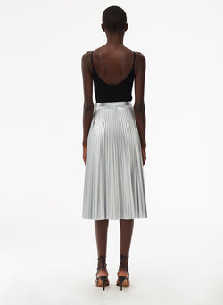 Metallic Nylon Pleated Skirt Silver-3