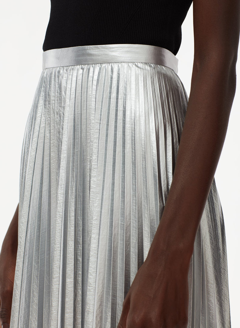 Metallic Nylon Pleated Skirt Silver-4