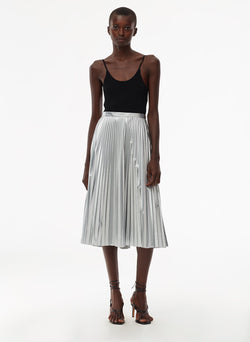 Metallic Nylon Pleated Skirt Silver-5