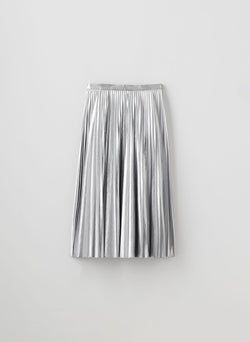 Metallic Nylon Pleated Skirt Silver-8