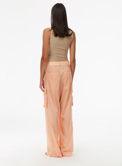 Nylon Cargo Pant Orange Sherbet-3