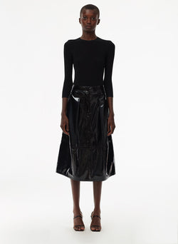 Patent Sculpted Skirt Black-1