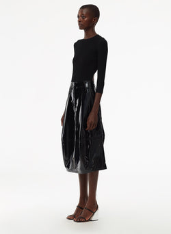 Patent Sculpted Skirt Black-2