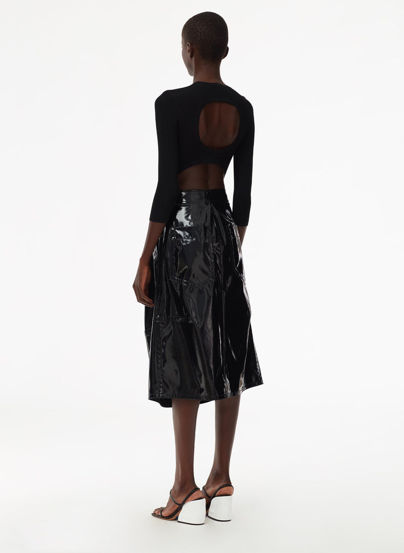 Patent Sculpted Skirt Black-3