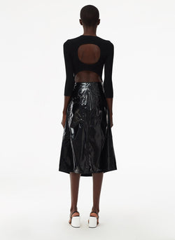 Patent Sculpted Skirt Black-4
