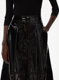 Patent Sculpted Skirt Black-5