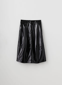 Patent Sculpted Skirt Black-7