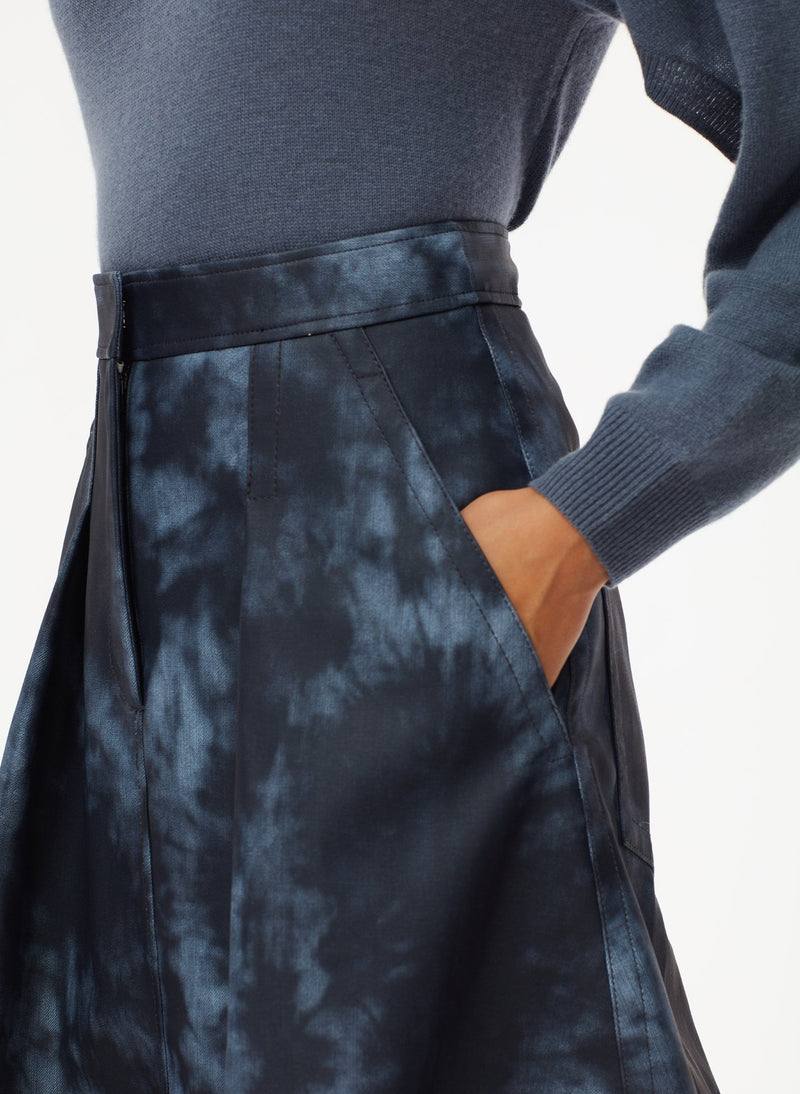Rubberized Tie Dye Sculpted Skirt Navy Multi-5