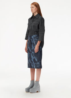 Garment Dyed Twill Oversized Cocoon Shirt Storm Grey-2