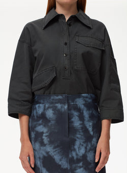 Garment Dyed Twill Oversized Cocoon Shirt Storm Grey-4