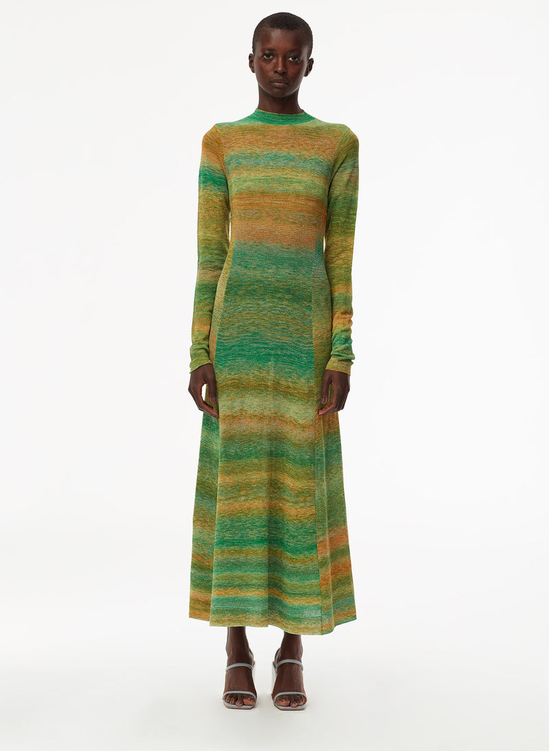 Space Dyed Openback Dress Green Multi-1