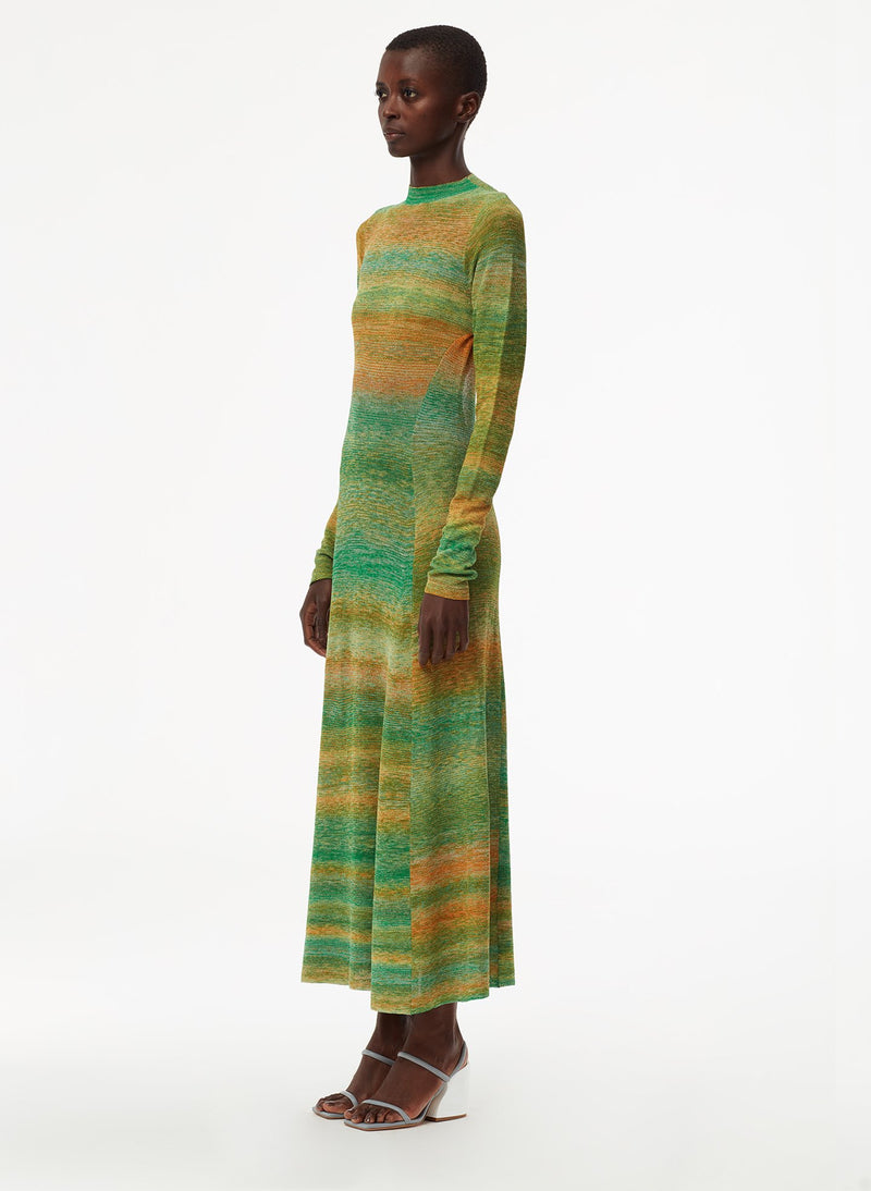 Space Dyed Openback Dress Green Multi-2
