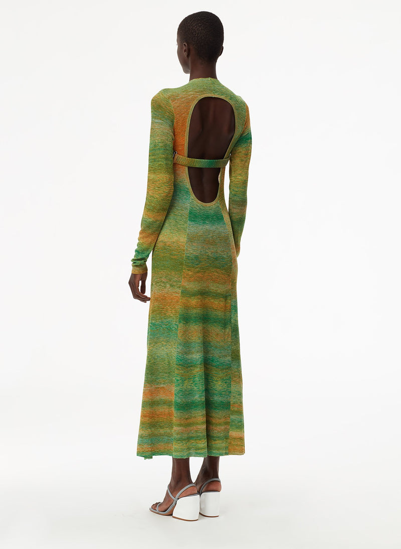 Space Dyed Openback Dress Green Multi-3