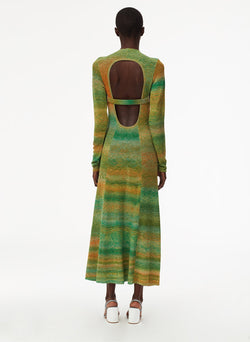 Space Dyed Openback Dress Green Multi-4