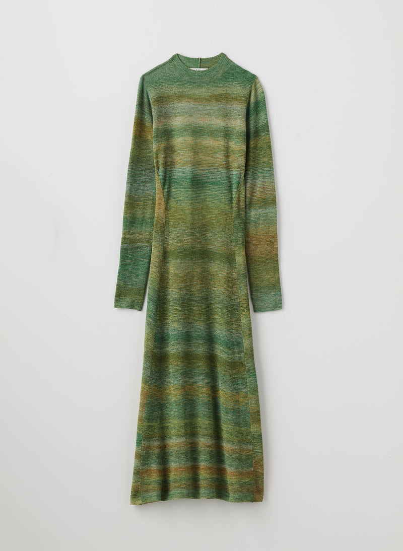 Space Dyed Openback Dress Green Multi-7