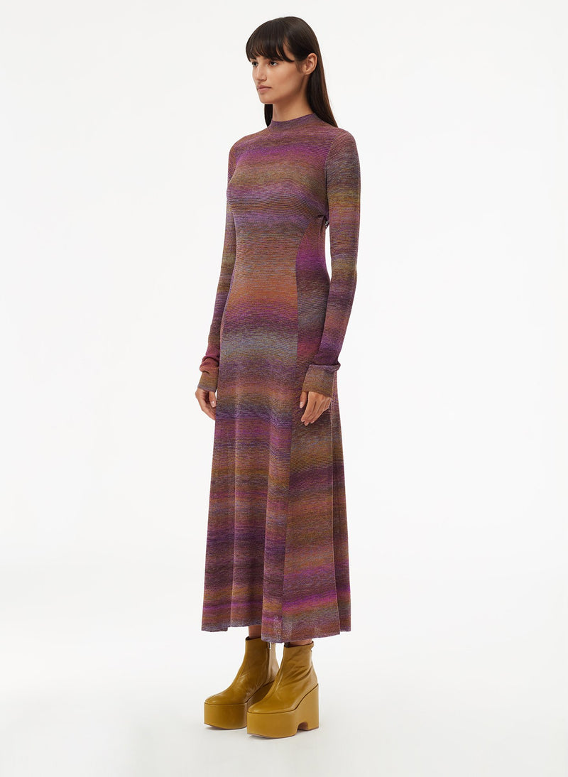 Space Dyed Openback Dress Purple Multi-9