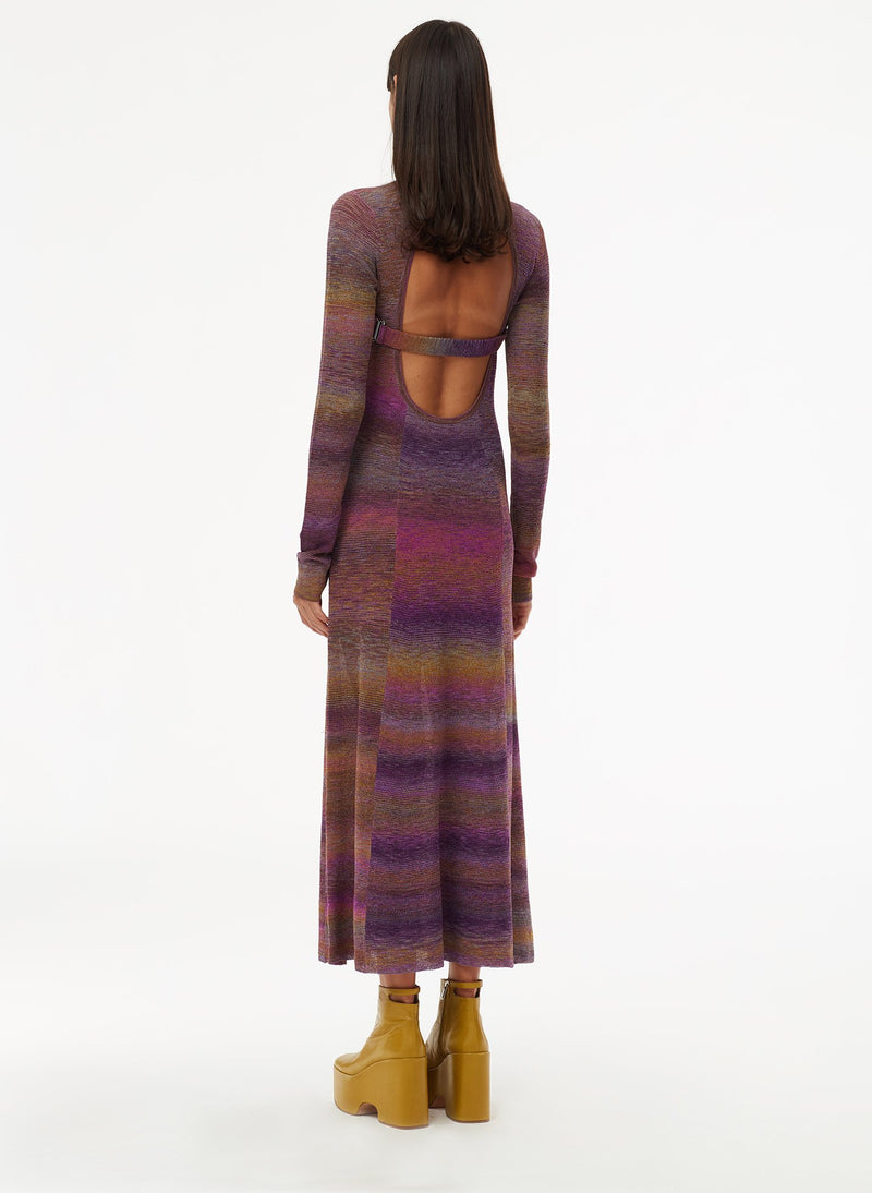 Space Dyed Openback Dress Purple Multi-10