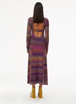 Space Dyed Openback Dress Purple Multi-11