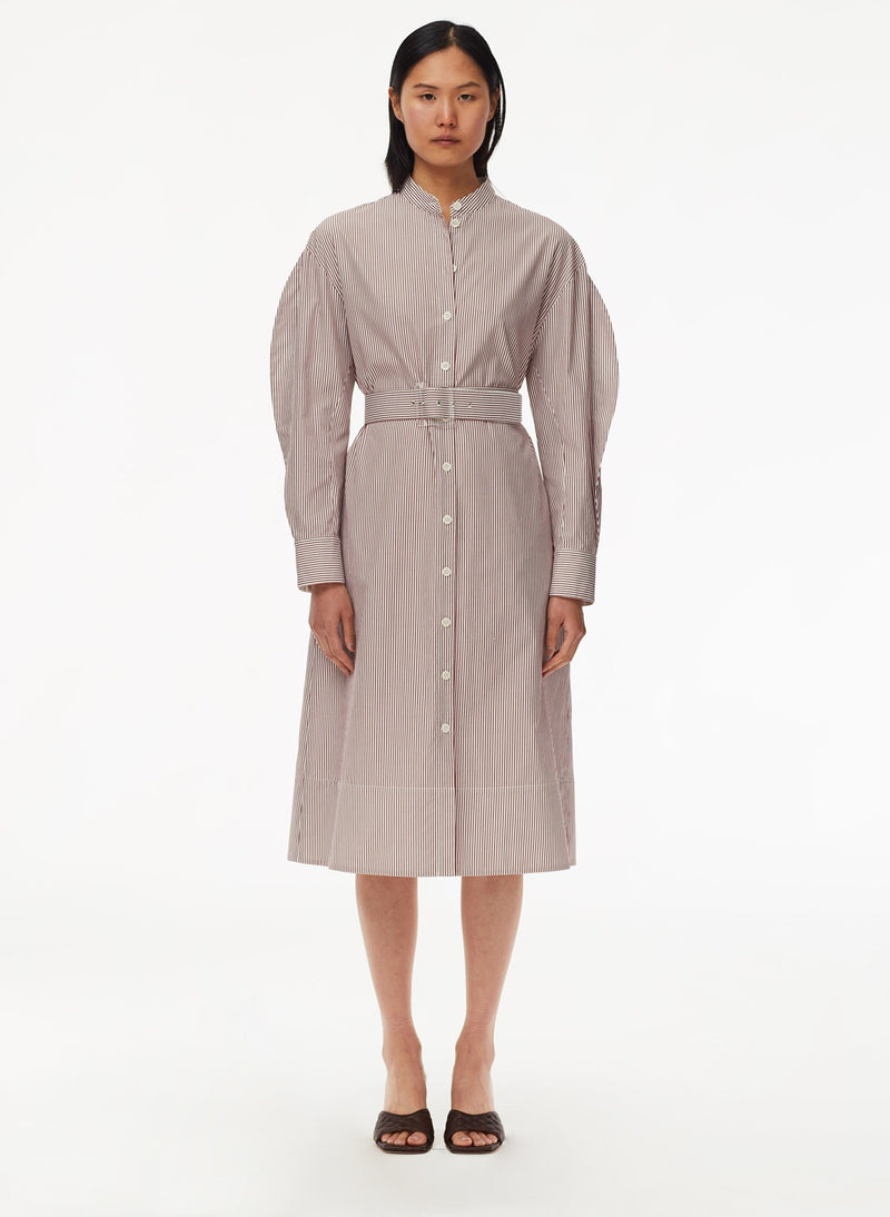 Striped Shirtdress with Belt Plum Multi-1