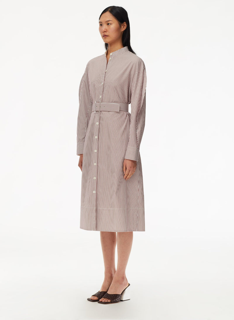 Striped Shirtdress with Belt Plum Multi-2