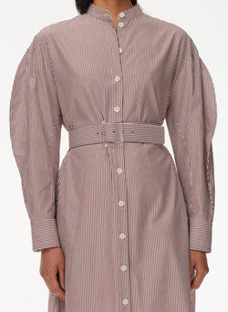 Striped Shirtdress with Belt Plum Multi-4