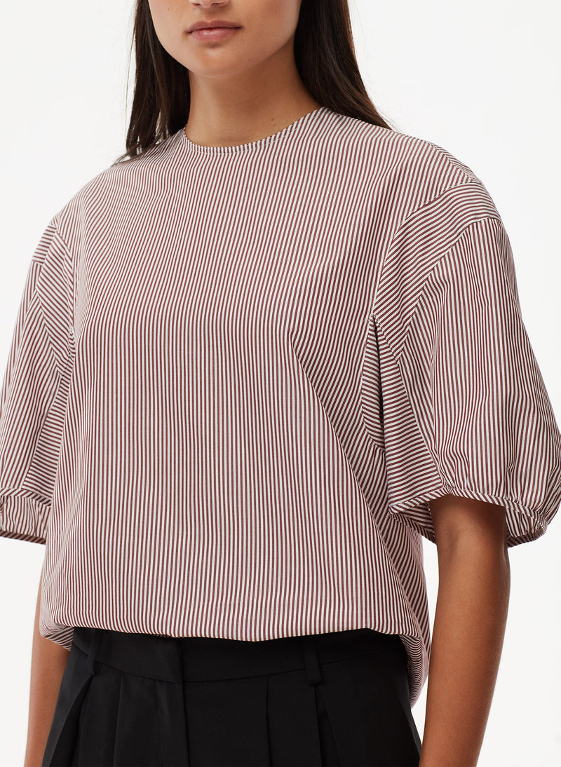 Striped Balloon Sleeve Top Plum Multi-5