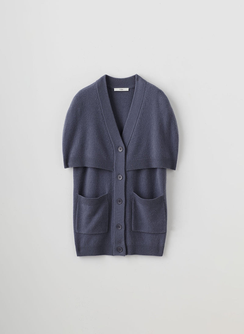 Spring Cashmere Cocoon Cape Cardigan Slate-6