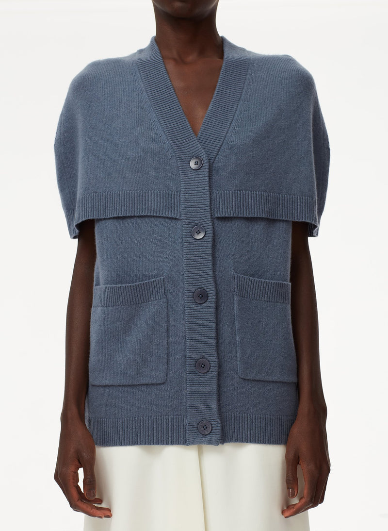 Spring Cashmere Cocoon Cape Cardigan Slate-4