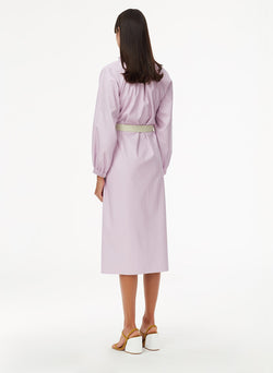 Tissue Faux Leather Edwardian Dress with Belt Purply Pink-2