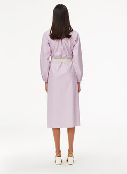 Tissue Faux Leather Edwardian Dress with Belt Purply Pink-3