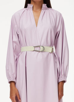 Tissue Faux Leather Edwardian Dress with Belt Purply Pink-4