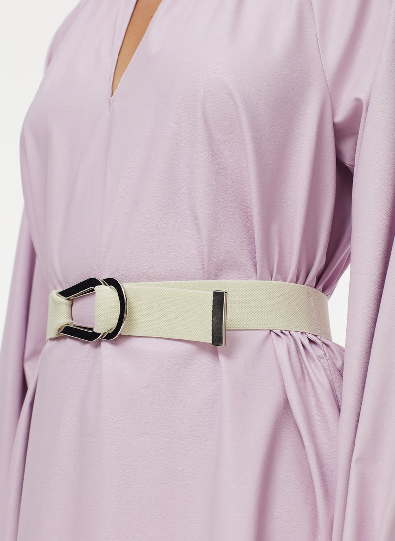 Tissue Faux Leather Edwardian Dress with Belt Purply Pink-5
