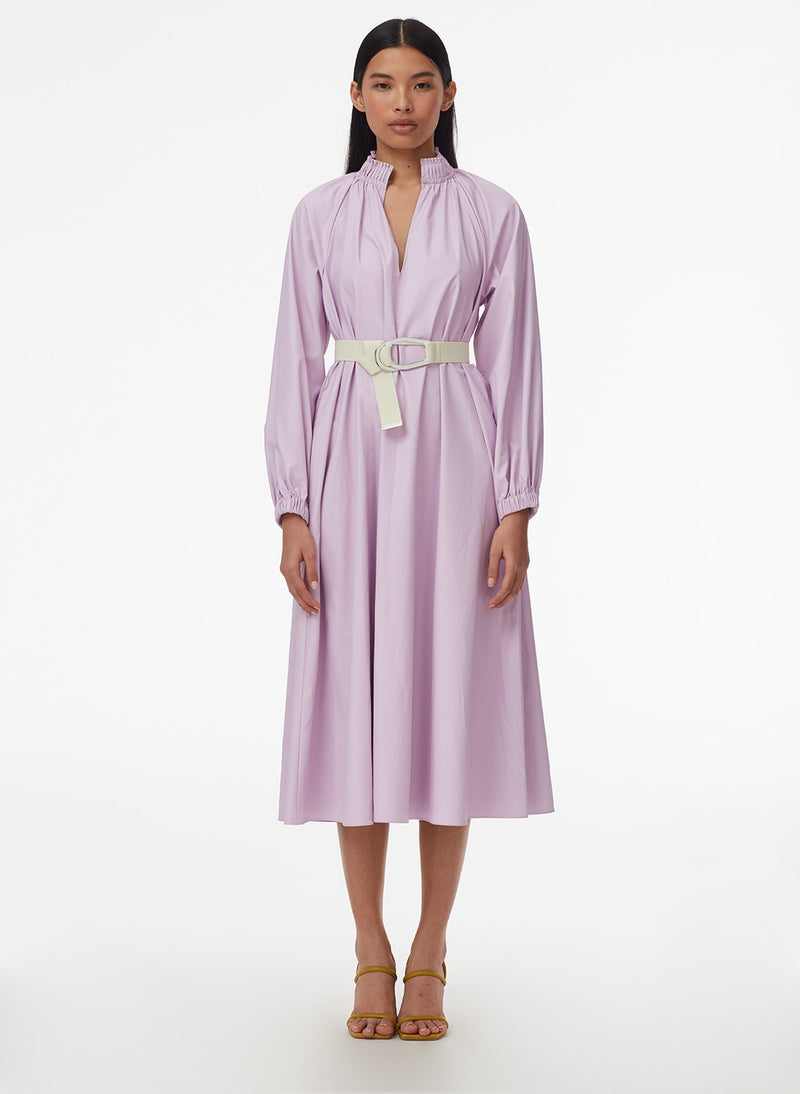 Tissue Faux Leather Edwardian Dress with Belt Purply Pink-7