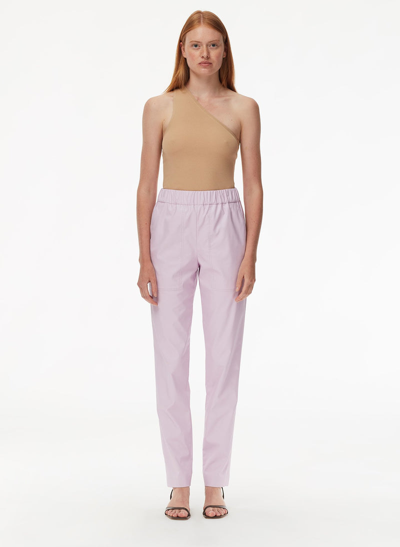 Tissue Faux Leather Pull On Pant Purply Pink-1