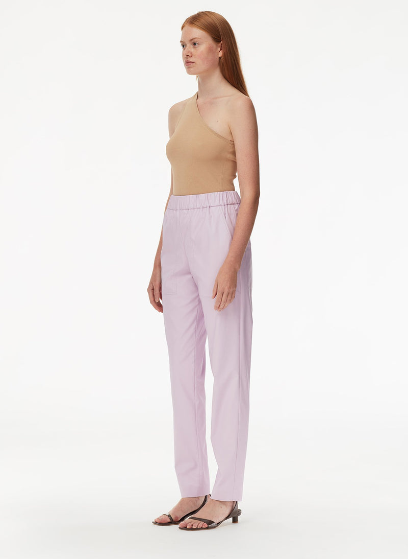 Tissue Faux Leather Pull On Pant Purply Pink-2