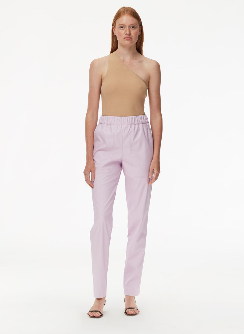 Tissue Faux Leather Pull On Pant Purply Pink-5