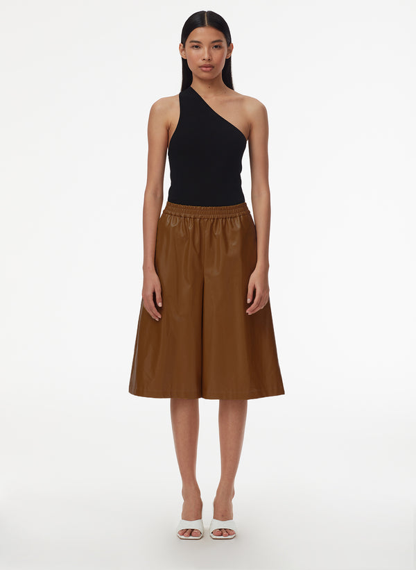 Tissue Faux Leather Relaxed Long Short