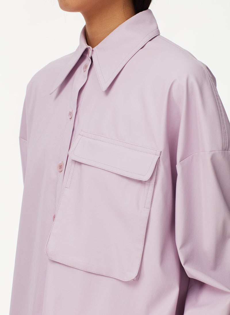 Tissue Faux Leather Utility Blouse Purply Pink-4
