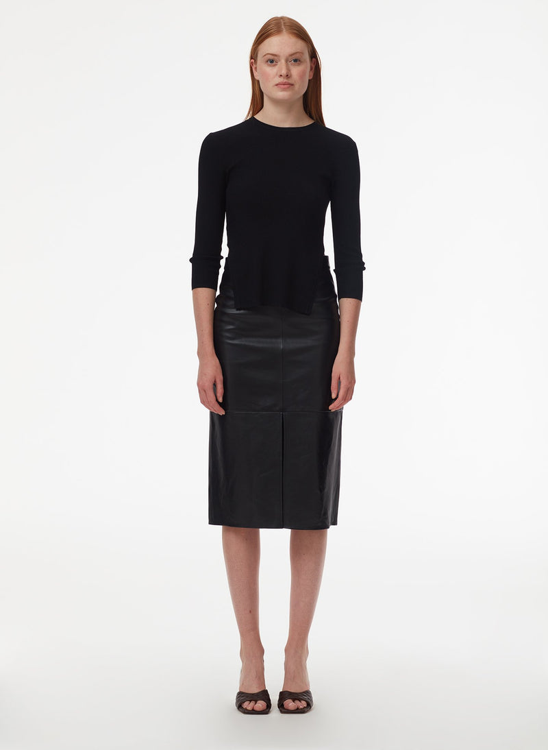 Tissue Leather Pencil Skirt Black-1