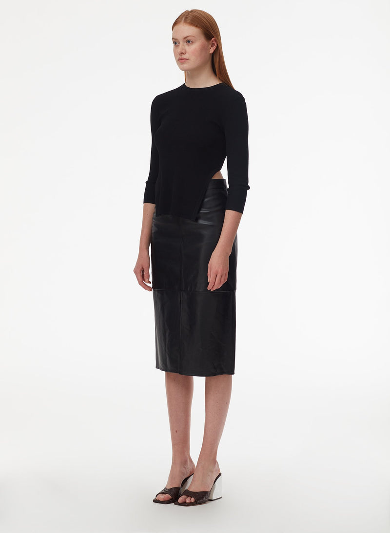 Tissue Leather Pencil Skirt Black-2