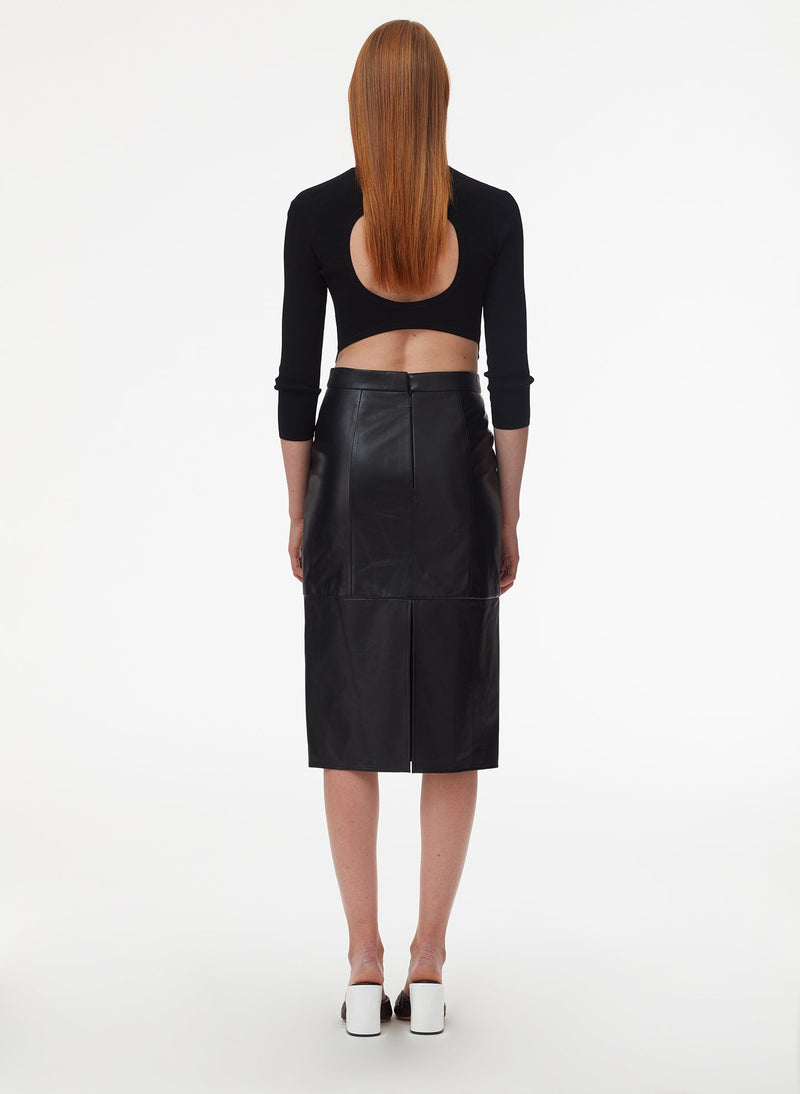 Tissue Leather Pencil Skirt Black-3