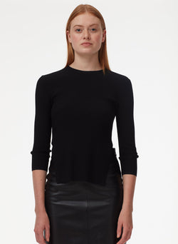 Tissue Leather Pencil Skirt Black-4