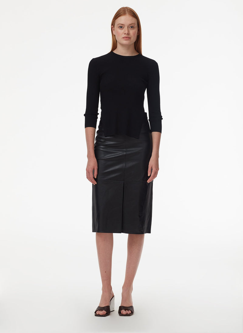 Tissue Leather Pencil Skirt Black-5