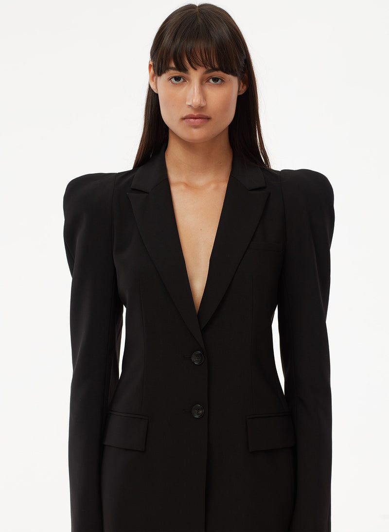 Tropical Wool Blazer Black-5
