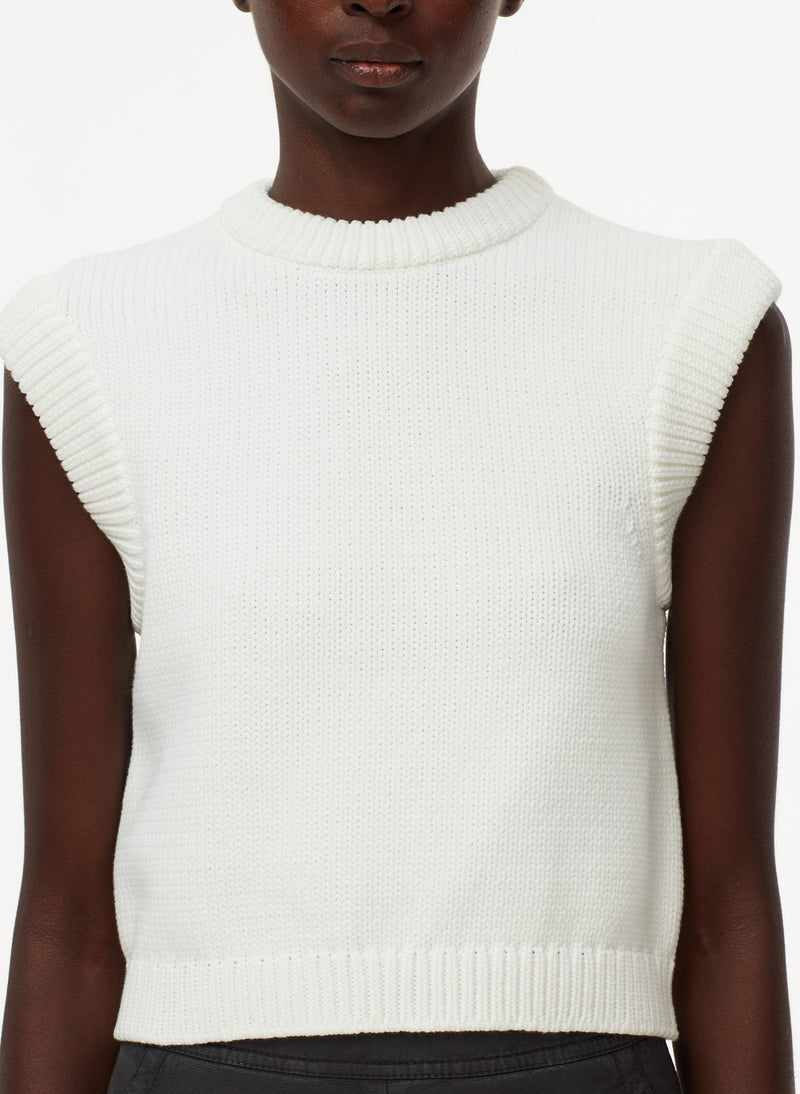 Tube Yarn Cropped Pullover White-11
