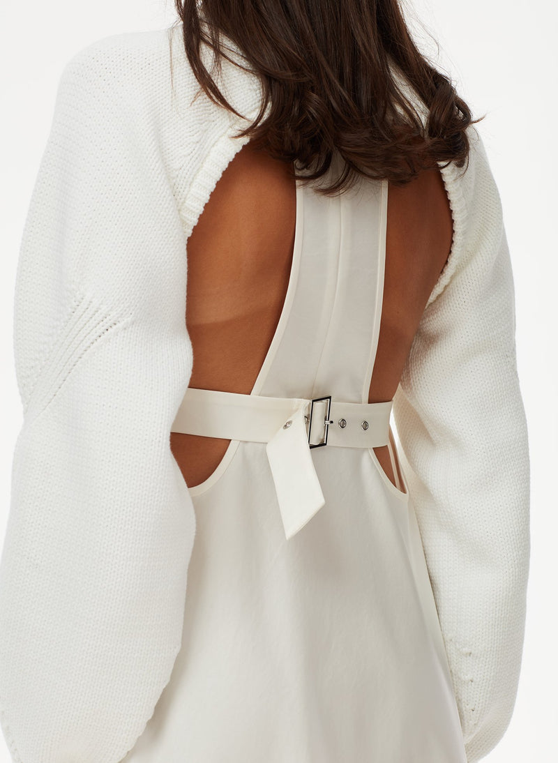 Tube Yarn Sweater Open Back Cropped Pullover White-6