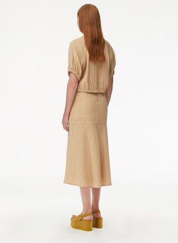 Viscose Plisse Long Front Slit Flared Skirt Latte-3
