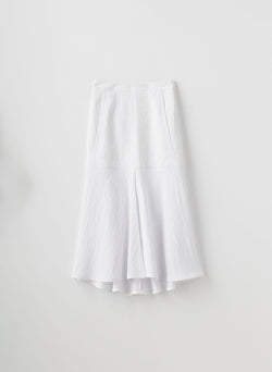 Viscose Plisse Long Front Slit Flared Skirt White-16