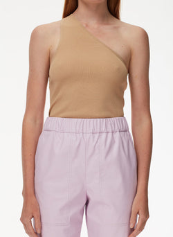 Giselle Stretch Sweater One Shoulder Cami Latte-4